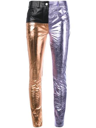 women leather white cotton pants