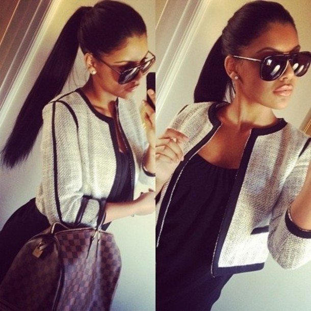 bag mode bag beautiful pretty clothes jacket sunglasses grey jacket black blouse brown bag blazer louis vuitton nice#jacket#black#white cardigan knitted cardigan knitted sweater grey elegant chic autumn/winter fall outfits fashion style square coat white classy formal