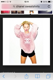 sweater,pink tie dye,miley cyrus,chanel sweatshirt