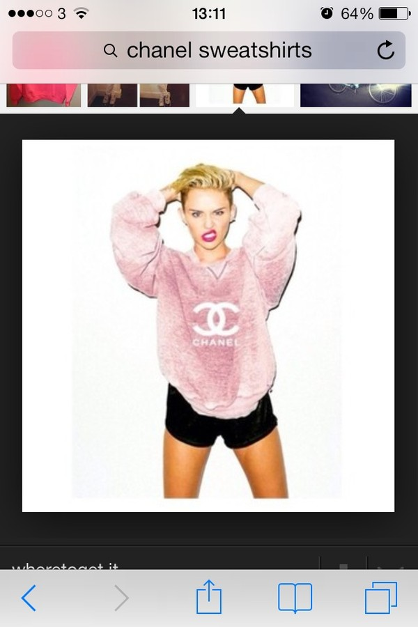 sweater pink tie dye miley cyrus chanel sweatshirt