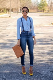 the daileigh,t-shirt,jeans,bag,shoes,sunglasses,overall jeans,blue jumpsuit,blue jeans,high waisted jeans