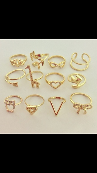 jewels gold gold rings gold jewelry infinity ring heart ring vintage arrow bow ring v shape ring cute