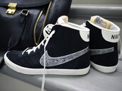 shoes,nike,trainers,sneakers,nike blazers,black,bgclique,bgc,nike shoes,high top sneakers,swarovski,custom shoes,nike sneakers,crystal,nike check