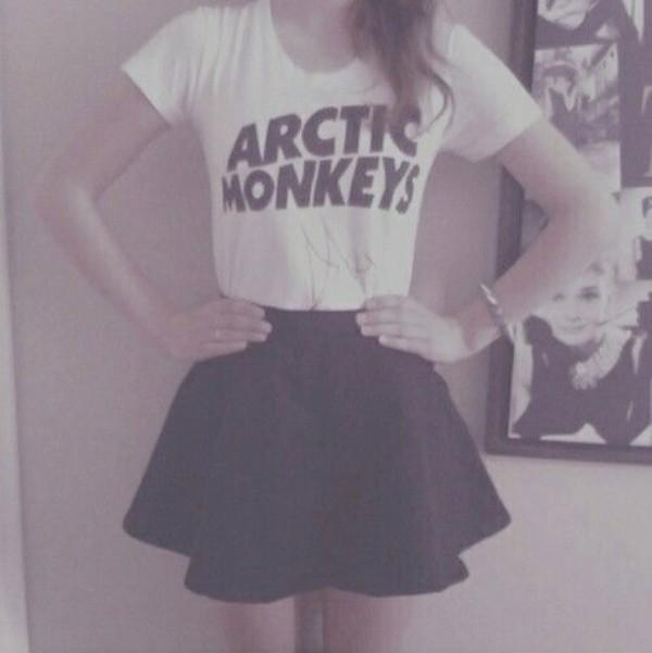 t-shirt white black arctic monkeys skirt dress shirt