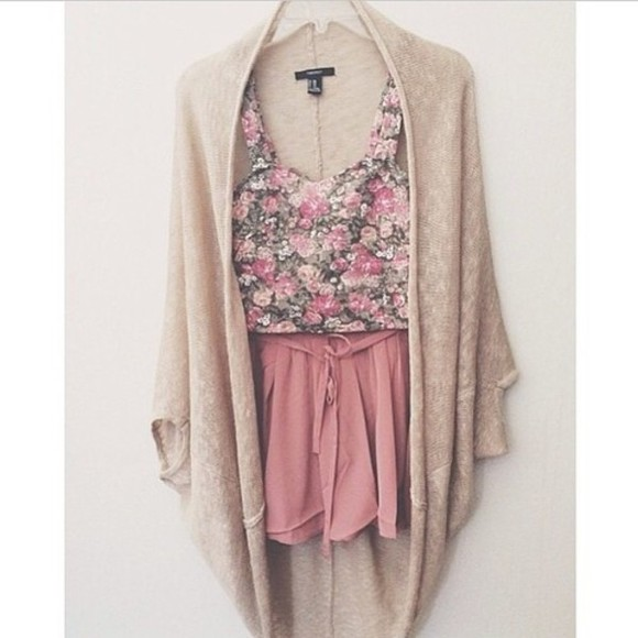 blouse pink shorts crop tops rose cardigan