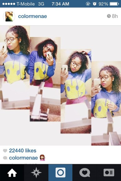 sweater smiley face smile reginae carter cropped sweater hoodie