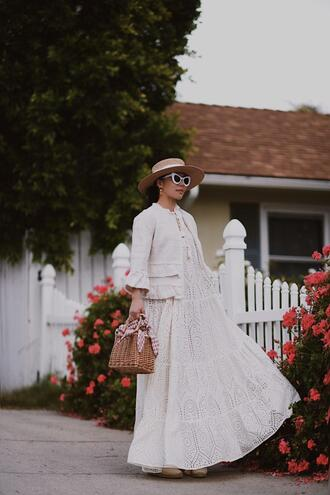 hallie daily blogger bag dress shoes sunglasses jacket jewels hat maxi dress white dress straw bag spring outfits