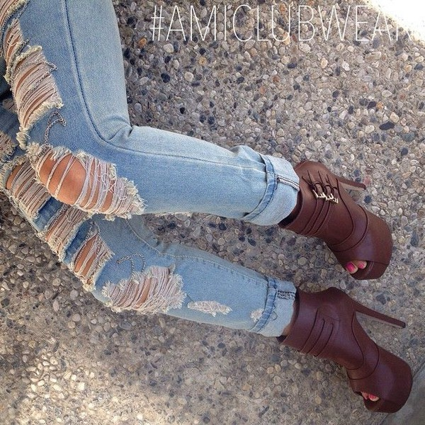boots jeans fashion style booties shoes peep toe boots ripped jeans