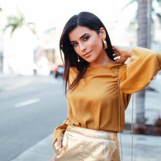 blouse tumblr silk top silk gold gold skirt metallic metallic skirt hoop earrings earrings gold earrings gold jewelry jewels jewelry
