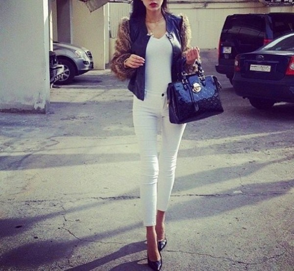jacket jeans shirt bag patent leather bag