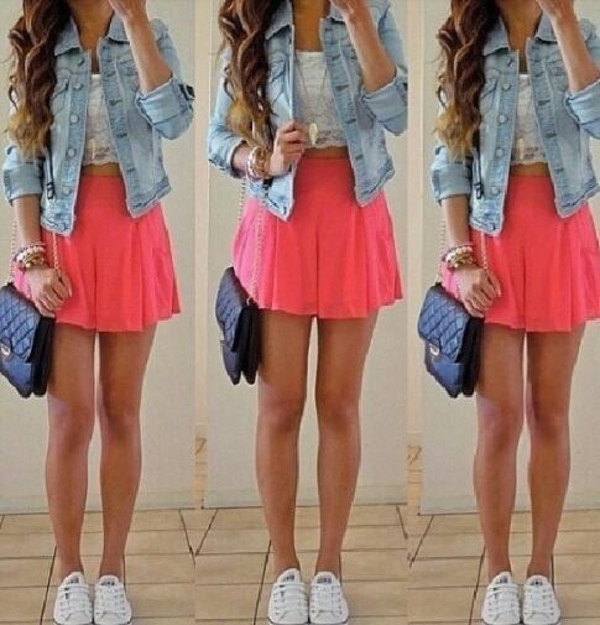 skirt outfit summer dress neon orange jacket white shoes shirt jewels
