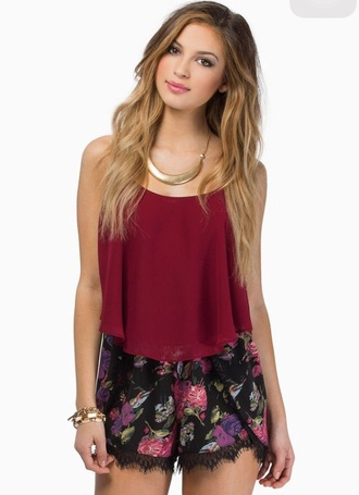 romper maroon/burgundy maroon shirt burgundy top flowered shorts black shorts shirt jewels