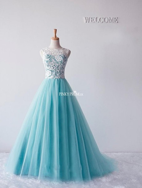 dress, blue tulle ball gown, ocean blue prom gown, blue tulle prom ...