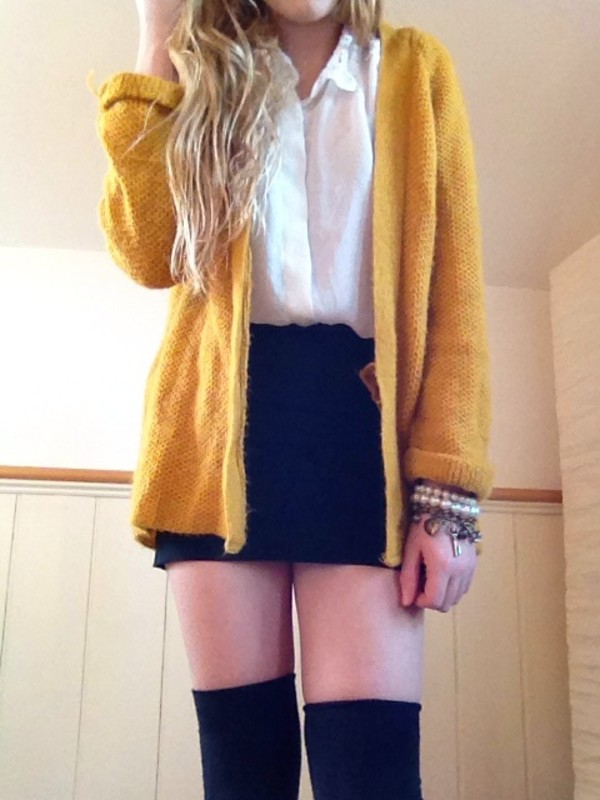 jacket yellow knitted cardigan cardigan mustard bright summer outfit