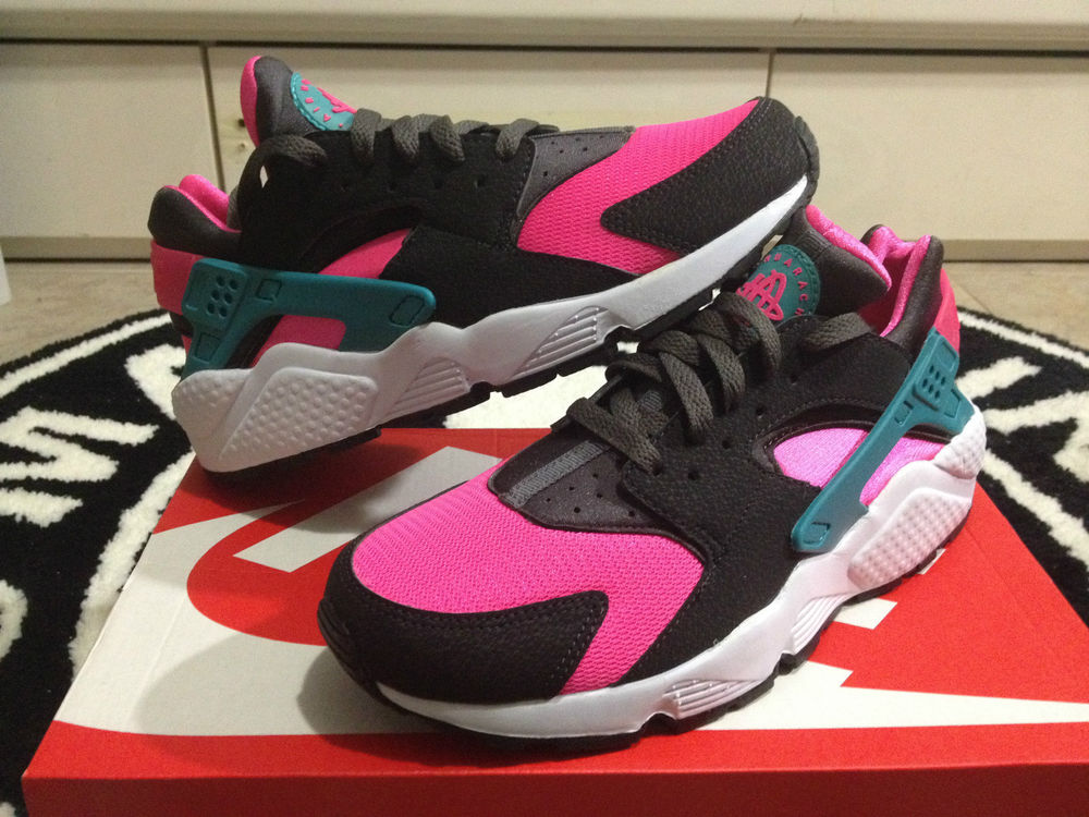 Nike Air Huarache LE South Beach Hyper Pink Black Rose Sz 8-13 318429-600 Grey