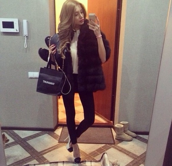 black pants white shirt bag coat faux fur coat fur faux fur black coat skinny jeans jeans white blouse black outfit shoulderbag sexy sexy outfit winter outfit fur vest cozy style fashion gold and black shoes
