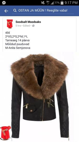 jacket black fur