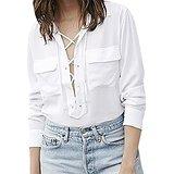 Amazon.com: Nulibenna Women's V Neck Lace Up Long Sleeve White Chiffon Blouse Pockets