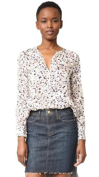 blouse long cream top