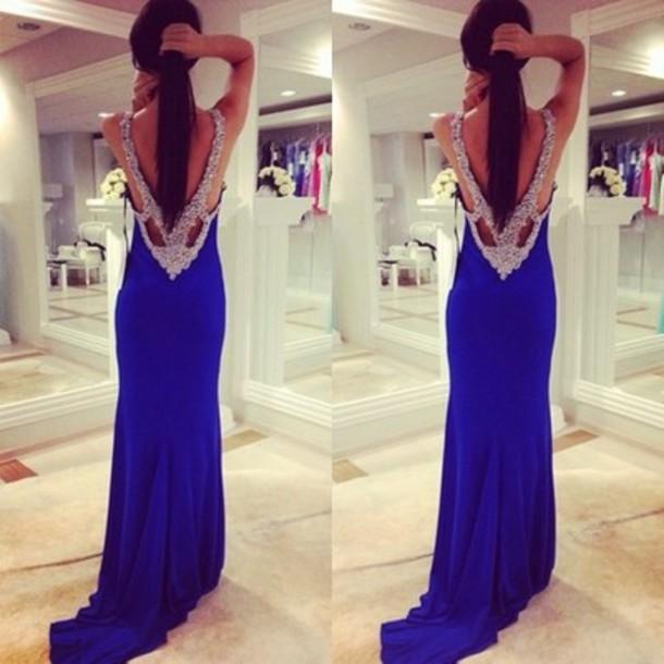 dress royal blue prom dress royal blue prom dress backless prom dress blue prom dress rhinestones backless dress blue fashion crystal amazing dress blue dress gems belt