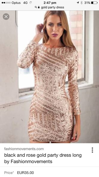 dress rose gold dress gold dress sparkly dress party dress