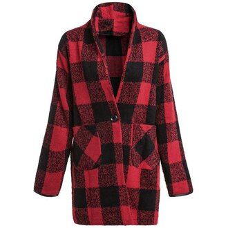 jacket plaid red black fashion style long sleeves fall outfits trendsgal.com