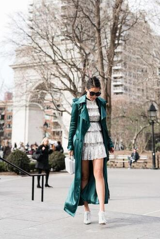 wendy's lookbook blogger bag sunglasses scarf green coat lace dress spring outfits
