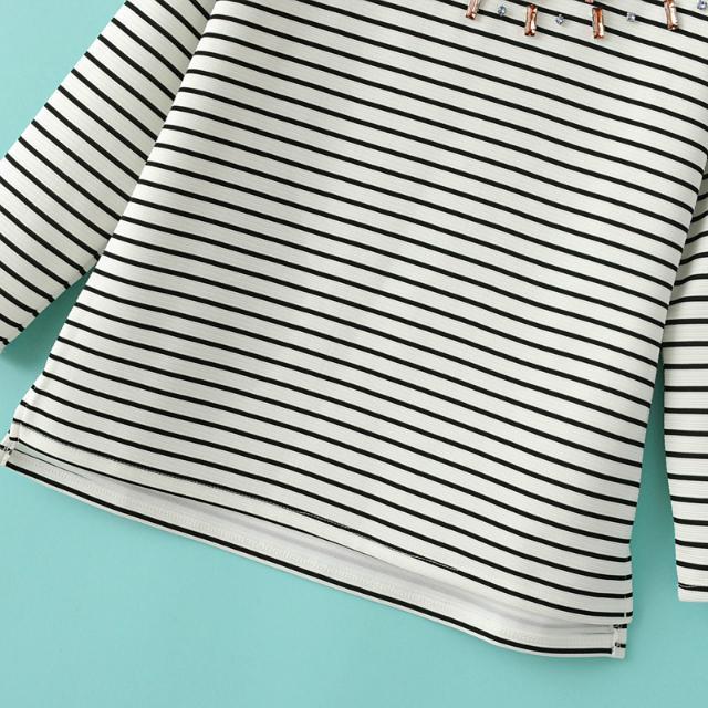 White Black Long Sleeve Striped Rhinestone Sweatshirt - Sheinside.com