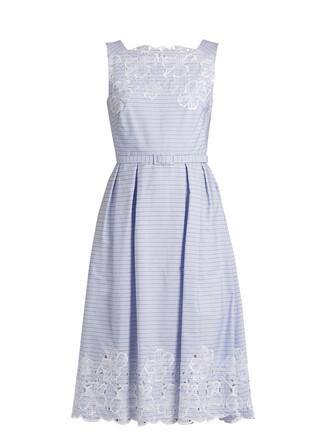dress cotton white blue