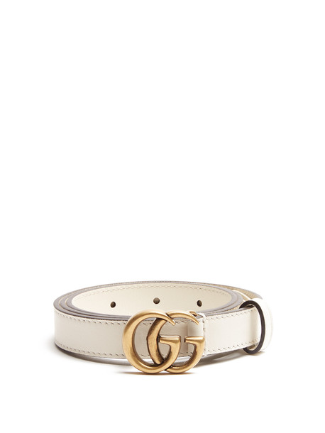 3ba86676acfd GUCCI GG-logo 2cm leather belt in cream - Wheretoget