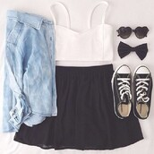 skirt,blouse,sunglasses,hair accessory,tank top,top,blue blouse,white crop tops,black skirt,black sunglasses,black all stars,jacket,corverse,contacts