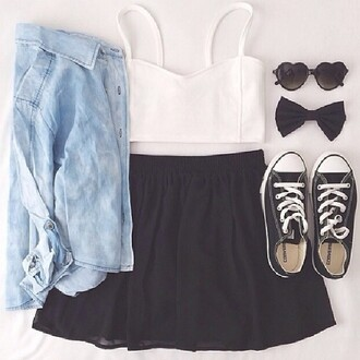 skirt blouse sunglasses hair accessory tank top top blue blouse white crop tops black skirt black sunglasses black all stars jacket corverse contacts