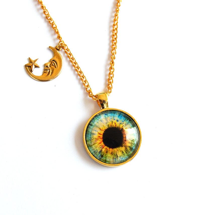 Hazel eye necklace with gold moon charm / eye jewelry / eye pendant