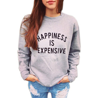 sweater grey hippie zaful hipster quote on it