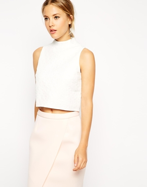 11e909ba6ef01c ASOS Sleeveless Crop Top in Texture With High Neck - White £17.00