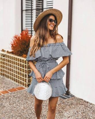dress round bag black and white dress off the shoulder sunglasses hat bag white bag