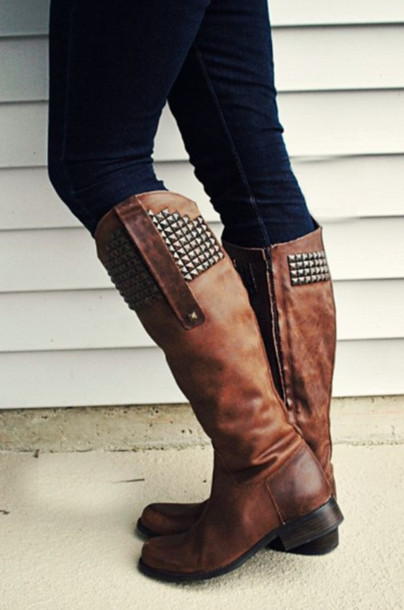 Shoes: boots, high boots, spike, brown boots, brown, knee boots ...