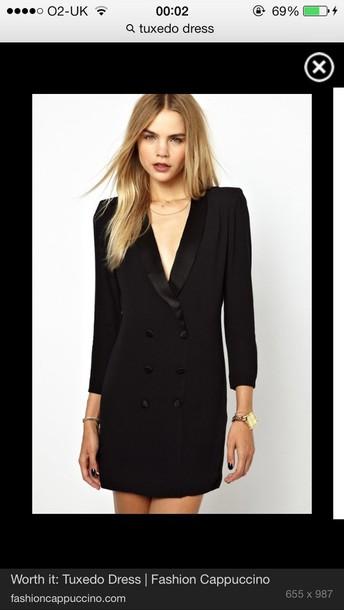 Dress: black, tuxedo, jacket, suit, short - Wheretoget