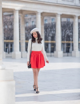 coco and vera blogger bag beret red skirt white sweater