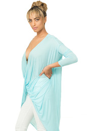 top,blue top,baby blue,plunge neckline,cross,sexy top,sexy dress,draped top,swimwear,swim cover up,bikini,girly,summer top,casual,comfy,beach,beach shirt,rihanna
