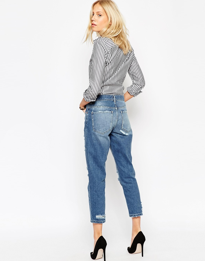 Low Slung Straight Leg Boyfriend Jeans With Rip and Repair Patches ...