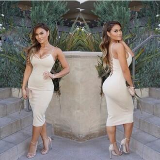 dress mischievous socialite lace up dress beige dress nude dress midi dress knee length dress bodycon dress daphne joy low back dress