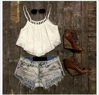 shorts high waisted dark wash shorts blouse shoes sunglasses high waisted shorts white crop tops shirt tank top top crop tops denim shorts lace top fashion style