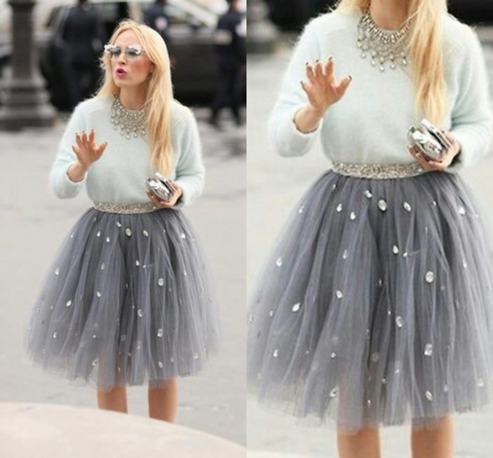com : Buy Hot Sale Casual Crystal Short Tulle Skirt Pleated ...