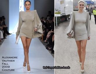 taupe beige shoulder pads sharp shoulder nude mini dress bodycon dress nude dress midi dress