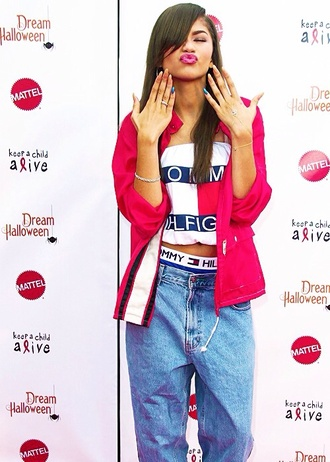 jacket red jacket shirt underwear jeans zendaya