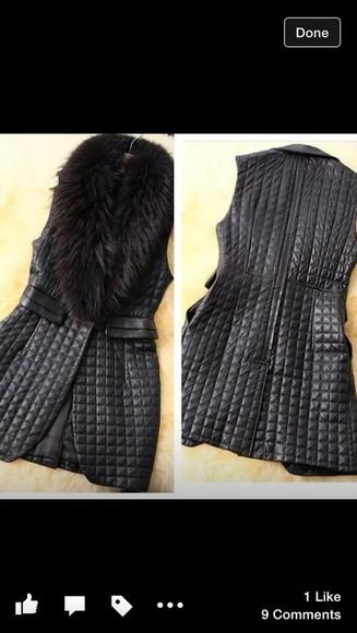 gilet black gilet fur quilted