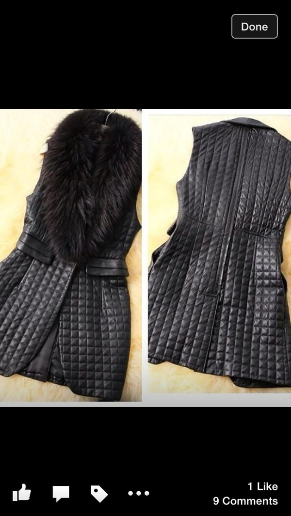 black gilet fur quilted gilet