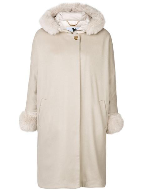 Blumarine coat feathers fur fox women nude