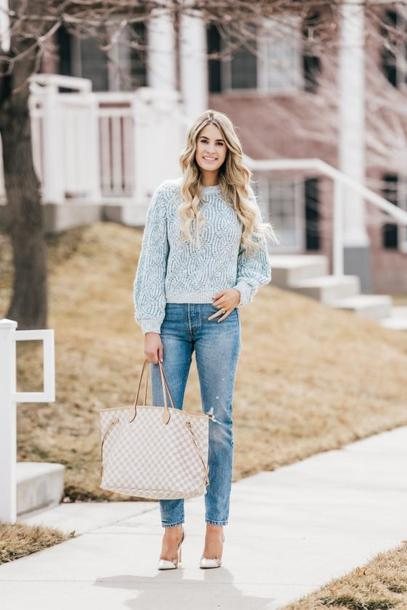 ivory lane blogger sweater jeans shoes bag make-up pumps high heel pumps louis vuitton bag tote bag spring outfits